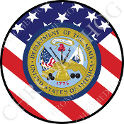 Premium Round Decal - Army Department - USA Flag