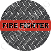 Premium Round Decal - Red Line - Fire Fighter - DP