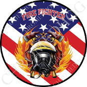 Premium Round Decal - Fire Fighter - USA Flag T