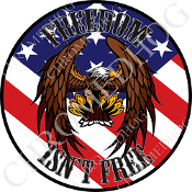 Premium Round Decal - Eagle - Flying - USA Flag - FIF