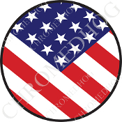Premium Round Decal - Flag - USA - V