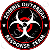 Premium Round Decal - Zombie Outbreak - Red/ White