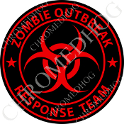 Premium Round Decal - Zombie Outbreak - Red/ Black