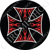 Premium Round Decal - Iron Cross - Red Flame - Black/ Black