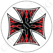 Premium Round Decal - Iron Cross - Red Flame - Black/ White