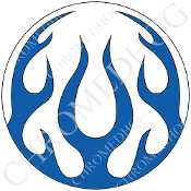 Premium Round Decal - Flame - Blue/ White