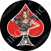Premium Round Decal - Pin Up Spade - Army - Red/ Black