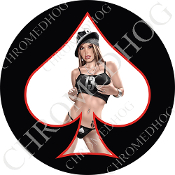 Premium Round Decal - Pin Up Spade - Lucky 13 - White/ Black