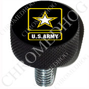 Harley Custom Seat Bolt - L KN Black Billet - Army Logo - Black