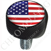 Harley Custom Seat Bolt - L KN Black Billet - Flag - USA 1