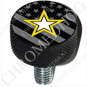 Harley Custom Seat Bolt - L KN Black Billet - Army Star - G Flag