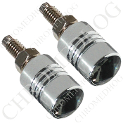 Chrome License Bolts w/ Smoked Swarovski Crystals - Set of 2
