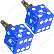 Dice License Plate Frame Bolts - Blue - Set of 2