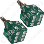 Dice License Plate Frame Bolts - Green Glitter - Set of 2