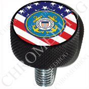 Harley Custom Seat Bolt - L KN Black Billet - Coast Guard Flag