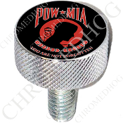 Harley Custom Seat Bolt - L KN Chrome Billet - POW*MIA R/B