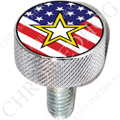 Harley Custom Seat Bolt - L KN Chrome Billet - Army Star US Flag