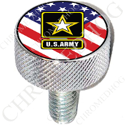 Harley Custom Seat Bolt - L KN Chrome Billet - Army Logo US Flag