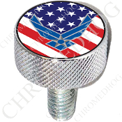 Harley Custom Seat Bolt - L KN Chrome Billet - USAF US Flag