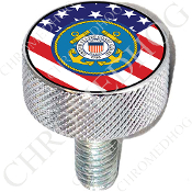 Harley Custom Seat Bolt - L KN Chrome Billet - Coast Guard Flag