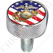 Harley Custom Seat Bolt - L KN Chrome Billet - USMC EGA US Flag