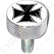 Harley Custom Seat Bolt - L KN Chrome Billet - Iron Cross - BW