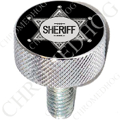 Harley Custom Seat Bolt - L KN Chrome Billet - Sheriff Badge Blk