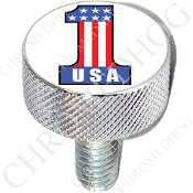 Harley Custom Seat Bolt - L KN Chrome Billet - #1 USA - White