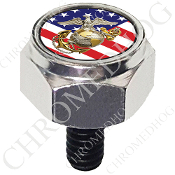 Harley Custom Seat Bolt - Hex Silver Billet - USMC EGA US Flag