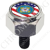 Harley Custom Seat Bolt - Hex Silver Billet - Coast Guard Flag