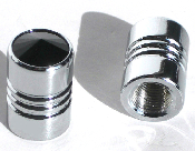 Chrome Valve Stem Caps w/ Black Swarovski Crystals - Set of 2