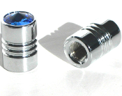 Chrome Valve Stem Caps w/ Blue Swarovski Crystals - Set of 2