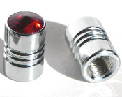 Chrome Valve Stem Caps w/ Red Swarovski Crystals - Set of 2