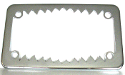 Motorcycle License Plate Frame - Shark Teeth - Chrome