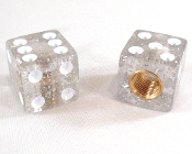Dice Valve Stem Caps - Clear Glitter - Set of 2