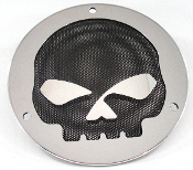 3 Hole Derby Cover - Black Mesh Skull