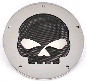 5 Hole Derby Cover - Black Mesh Skull