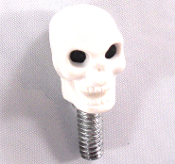 Harley Custom Seat Bolt - Skull - White
