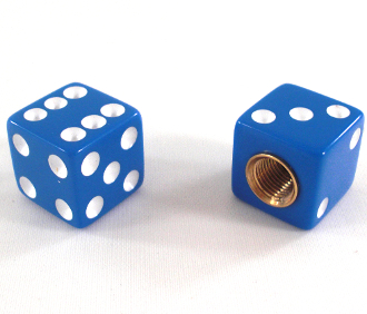 Dice Valve Stem Caps - Blue - Set of 2