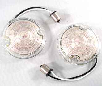 Low Profile Clear Lenses w/ 1156 Amber LED Bulbs - Set of 2