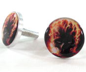 Polished Billet License Frame Bolts - Flaming Skull - Set of 2