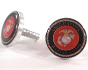 Polished Billet License Frame Bolts - USMC Marine Corps - 2
