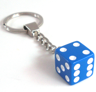 Chrome Key Chain - Dice - Blue