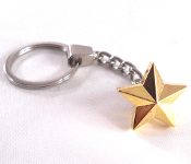 Chrome Key Chain - Star - Gold