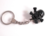 Chrome Key Chain - Skull & Bones - Black