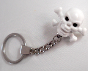 Chrome Key Chain - Skull & Bones - White