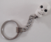 Chrome Key Chain - Skull - White