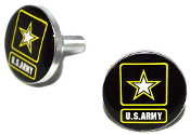 Polished Billet License Frame Bolts - Army Logo Black - Set of 2