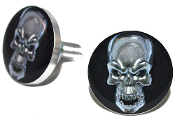 Polished Billet License Frame Bolts - Silver Skull - 2