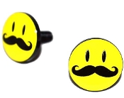 Black Billet License Frame Bolts - Smile 'Stache - Set of 2